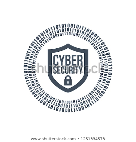 cyber security shield icon or logo. binary digital circles and lock. vector illustration isolated on Stock photo © kyryloff