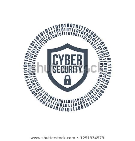 Segurança escudo ícone logotipo binário digital Foto stock © kyryloff