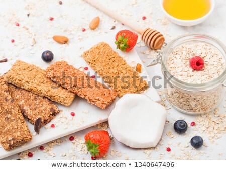 Organik tahıl granola bar karpuzu mermer Stok fotoğraf © DenisMArt