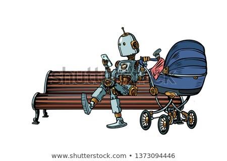 シルエット · 将来 · 母親 · クローズアップ · 白 · 青 - ストックフォト © studiostoks