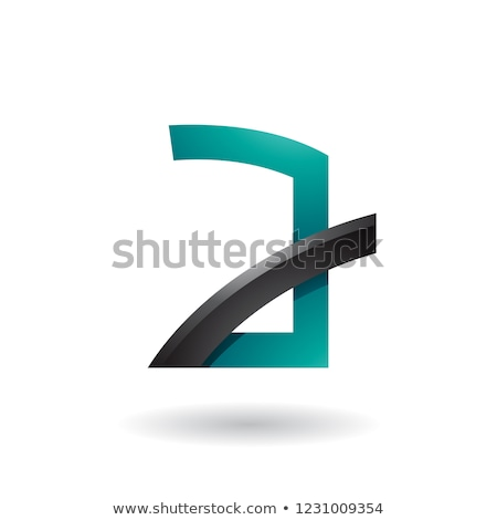 Persian Green Letter A with Black Glossy Stick Vector Illustrati Stock photo © cidepix