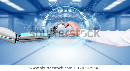 Businessman Robot Hands AI Connection HUD Network Stock photo © limbi007