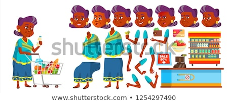 Indian Old Woman Set Vector. Elderly People. Hindu. Asian In Sari. Senior Person. Aged. Funny Pensio Stock photo © pikepicture