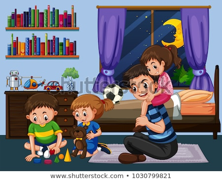 Daddy and three kids in bedroom at night Stock photo © colematt