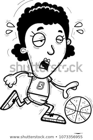 Kimerült rajz fekete kosárlabdázó illusztráció afroamerikai nő Stock fotó © cthoman