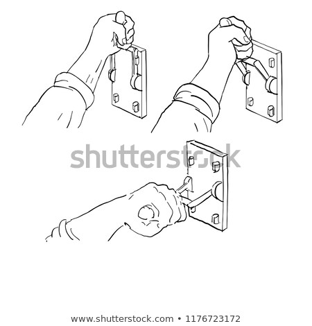 Hand Pulling Frankenstein Light Throw Switch Drawing Stock photo © patrimonio