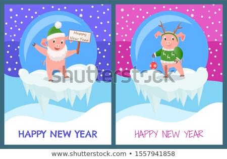 поросенок · празднования · Cartoon · иллюстрация · вектора - Сток-фото © robuart