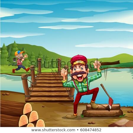 человека лесу реке иллюстрация работу Сток-фото © colematt