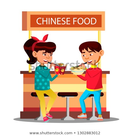 asian kids boy and girl eating with chopsticks sitting on cafe vector isolated illustration stock photo © pikepicture