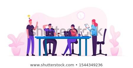 üzletember · siker · dolgozik · laptop · pop · art · retró · stílus - stock fotó © robuart