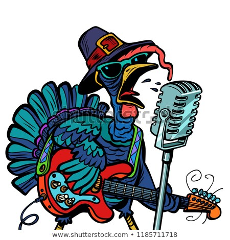 Thanksgiving Turkey character singer. Isolate on white backgroun Stock photo © rogistok