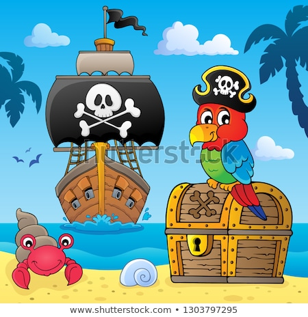 pirate parrot on treasure chest topic 4 stock photo © clairev