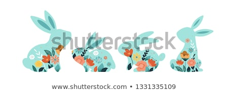 Happy easter greeting card text white head bunny Stock photo © orensila