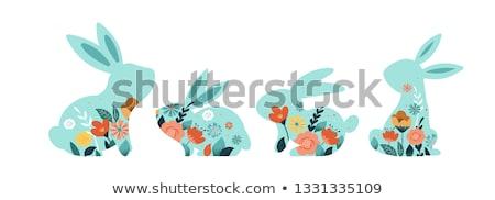 Iyi paskalyalar tebrik kartı metin beyaz kafa tavşan Stok fotoğraf © orensila
