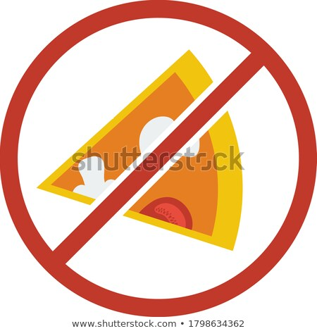 flat design icon of prohibited pizza stock photo © angelp