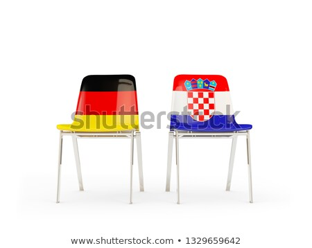 Deux chaises drapeaux Allemagne Croatie isolé Photo stock © MikhailMishchenko