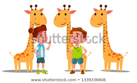 Ruler Baby Height Giraffe Vector. Boy, Girl. Isolated Flat Cartoon Illustration Stock photo © pikepicture