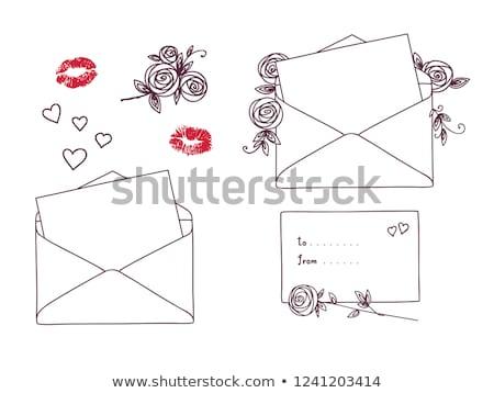 Open lettera rose vacanze contorno doodle Foto d'archivio © ESSL