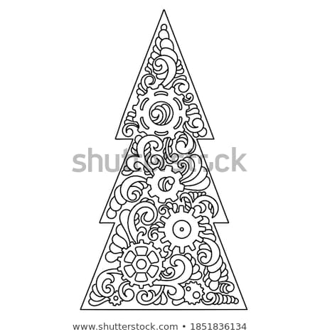 Christmas Card with Decorated Part of Tree Vector Stock photo © robuart