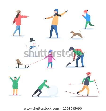Inverno atividade pais crianças vetor isolado Foto stock © robuart