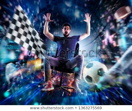 Video game junkie guy enters a virtual world Stock photo © alphaspirit