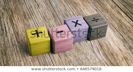 Wooden block math number and symbol Stock photo © colematt