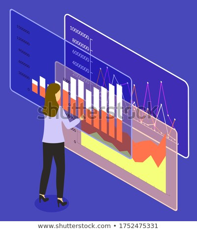 Infographics and Infocharts Tables on Screen 3D Stock photo © robuart