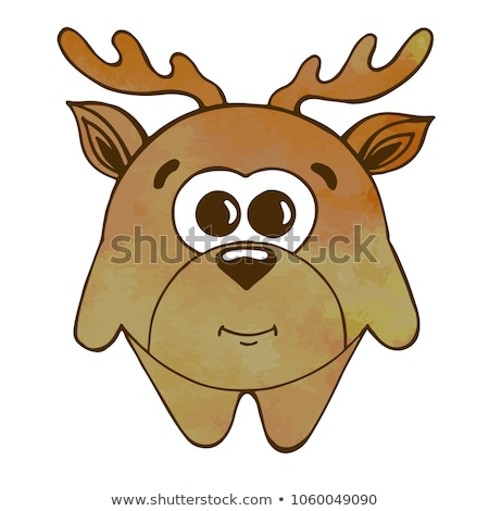 Stock photo: Cute cartoon deer, moose isolated on white background. Vector illustration in sketch style. Stylized