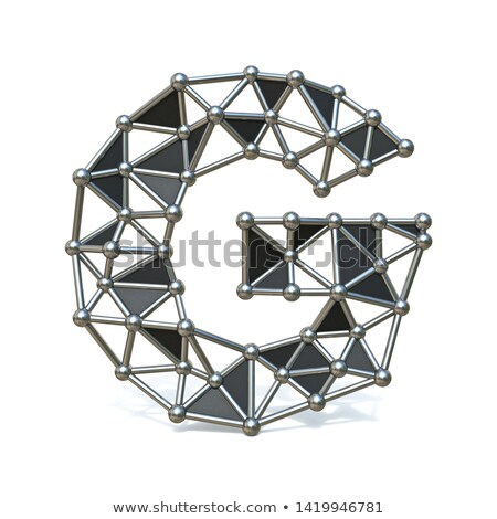 Wire low poly black metal Font Letter G 3D Stock photo © djmilic