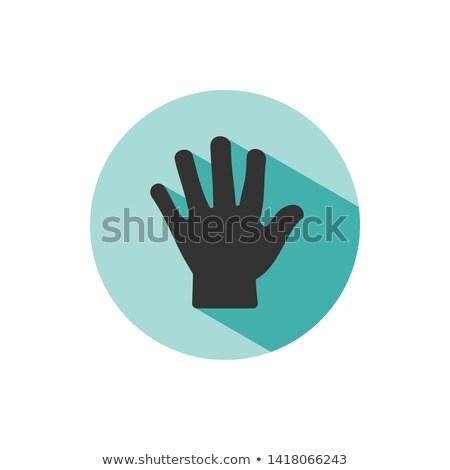 Body senses tact. Hand icon with shade on green circle Stock photo © Imaagio
