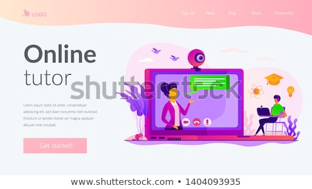 Online tutor landing page template Stock photo © RAStudio