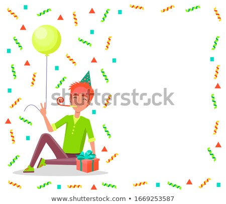 Happy Birthday Poster, Man Sitting with Party Horn Stock photo © robuart