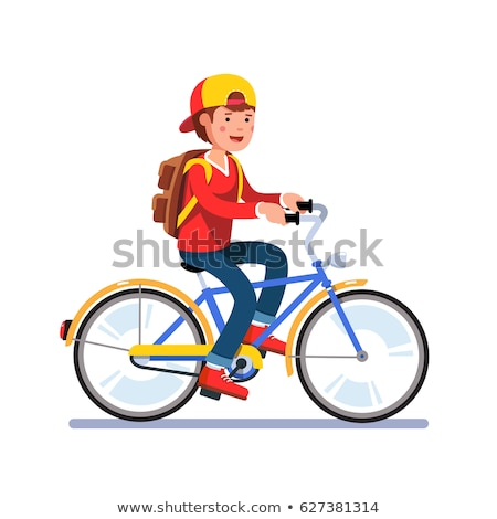 Student with Backpack Riding Bike, Vector Isolated Stock photo © robuart
