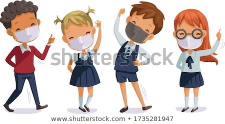 Kid Girl Happy Mask Illustration Stock photo © lenm