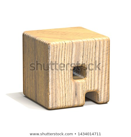 Solid wooden cube font Letter Q 3D Stock photo © djmilic