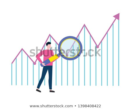 man searching with loupe rising arrow vector stock photo © robuart