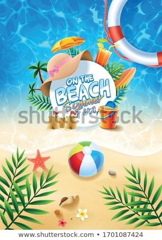 Vector Summer Holiday Illustration with Lifebelt and Exotic Palm Trees on Tropical Island Background Stock photo © articular
