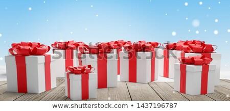 Vermelho branco presentes natal neve Foto stock © Wetzkaz