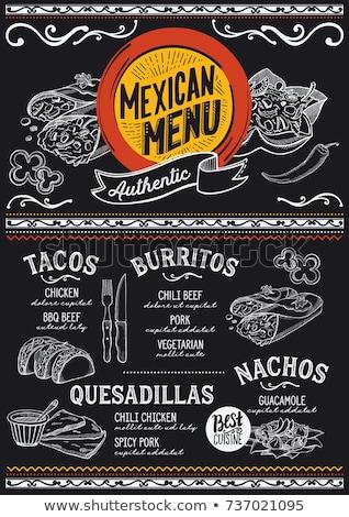 Comida mexicana dibujado a mano vector garabatos ilustración cocina Foto stock © balabolka