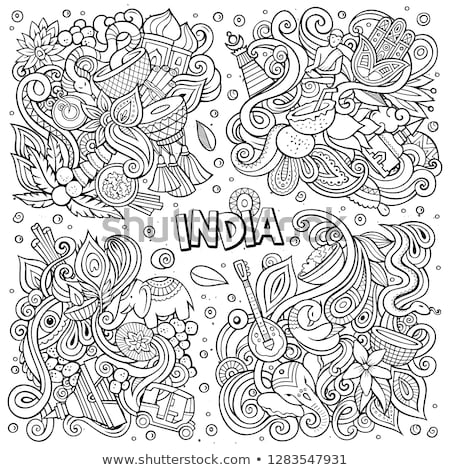 line art vector hand drawn doodles cartoon set of india combinations of objects stock photo © balabolka