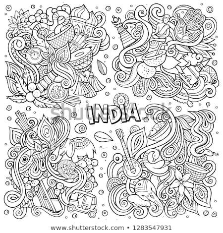 Line art vector hand drawn doodles cartoon set of India combinations of objects Stock photo © balabolka