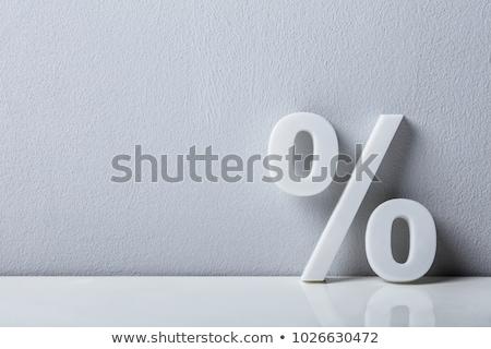 Blanco por ciento signo escritorio rojo pared Foto stock © AndreyPopov