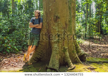 A man near a huge tree. The roots of an old tree, bali. Travel destination of Bali island, culture,  Stock photo © galitskaya