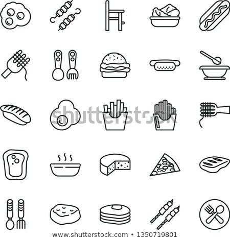 Zdrowa żywność kawałek mięsa wektora cienki line Zdjęcia stock © pikepicture