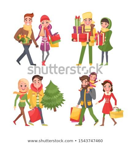 Weihnachten Warenkorb Paar kaufen Kiefer Set Stock foto © robuart