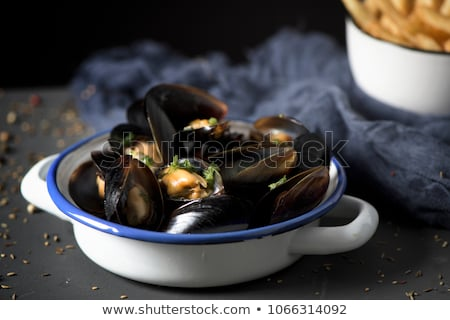 moules frites typical belgian mussels and fries stock photo © nito