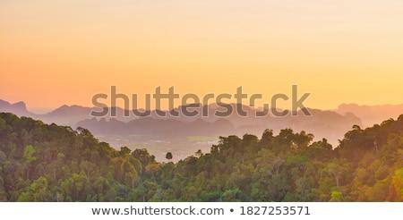 Trópusi tájkép meredek hegyek naplemente gyönyörű Stock fotó © vapi