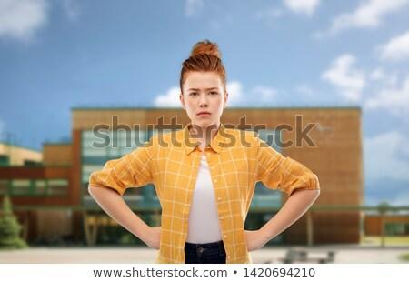недовольный красный студент девушки школы люди Сток-фото © dolgachov