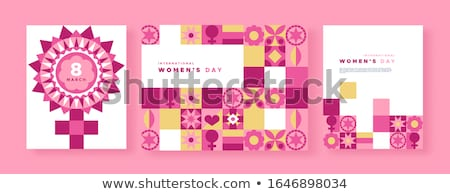 Nőnap rózsaszín virág mértani mozaik kártya szett Stock fotó © cienpies