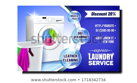 Laundry Express Service Advertising Poster Vector Stock photo © pikepicture